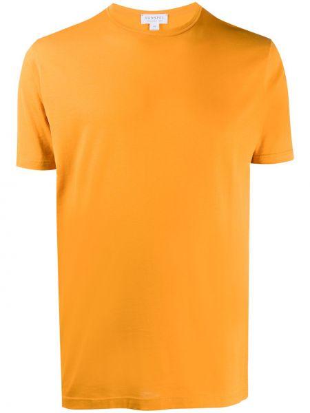 Хлопковая оранжевая футболка узкого кроя с круглым вырезом Sunspel