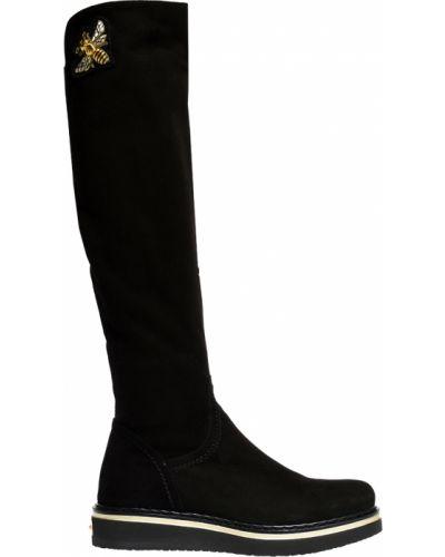 Ботфорты на каблуке замшевые черные Mara