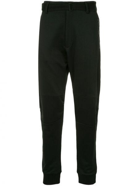 Черные зауженные брюки с поясом с манжетами бязевые Kru