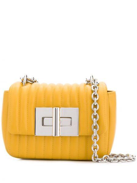 Желтая стеганая маленькая сумка прямоугольная из овчины Tom Ford