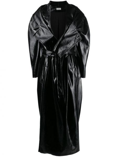 Свободное черное длинное пальто свободного кроя Preen By Thornton Bregazzi