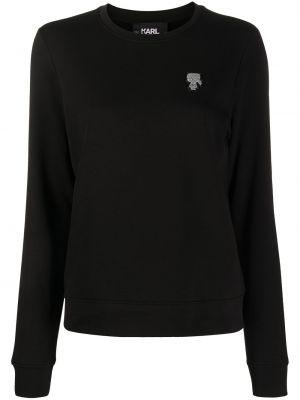 С рукавами черная толстовка с вышивкой Karl Lagerfeld
