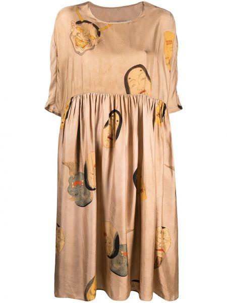 С рукавами платье миди трапеция с вырезом Uma Wang