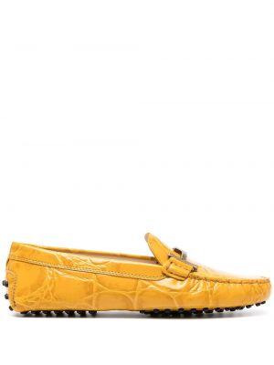 Желтые кожаные лоферы с тиснением Tod's
