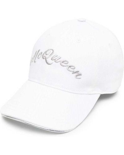 Bawełna biały czapka z daszkiem z haftem metal Alexander Mcqueen