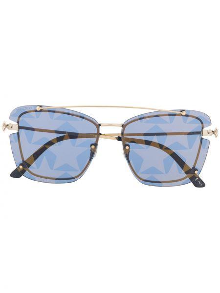 Золотистые солнцезащитные очки металлические хаки Jimmy Choo Eyewear