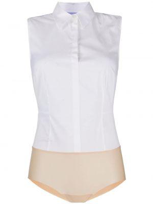 Biała koszula body bawełniana bez rękawów Wolford