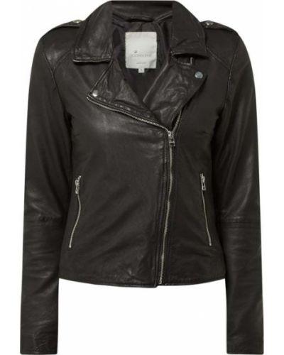 Czarna kurtka skórzana asymetryczna Goosecraft