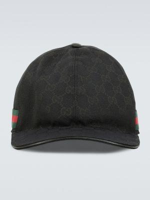 Klasyczny czarny kapelusz skórzany Gucci