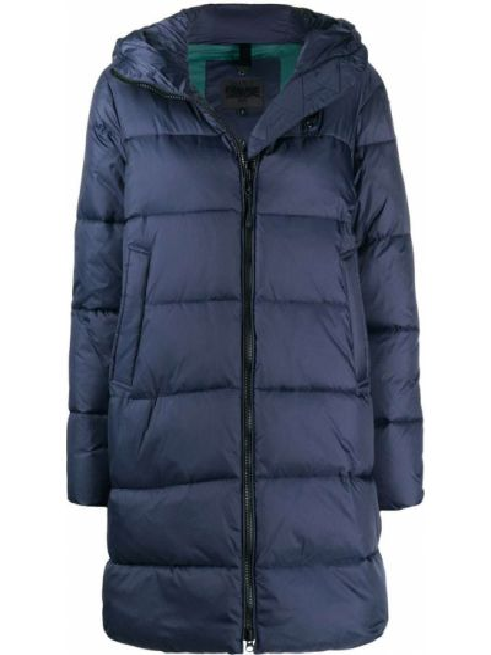 С рукавами синее длинное пальто с карманами с заплатками Blauer