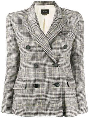Серый удлиненный пиджак двубортный с карманами Isabel Marant