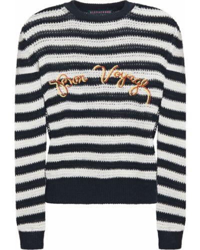 Sweter w paski z haftem Alexachung