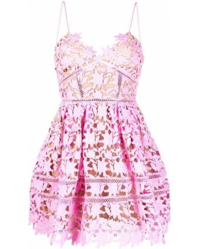 Розовое платье из полиэстера Self-portrait