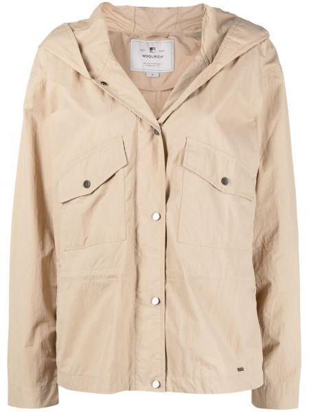 Бежевая длинная куртка с капюшоном с длинными рукавами Woolrich