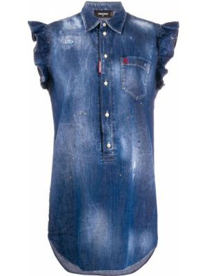 Классическое джинсовое платье с вышивкой на пуговицах Dsquared2