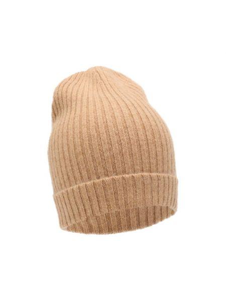 Кашемировая желтая шапка с отворотом эластичная Not Shy
