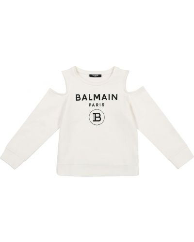 Biały bawełna bawełna top Balmain Kids