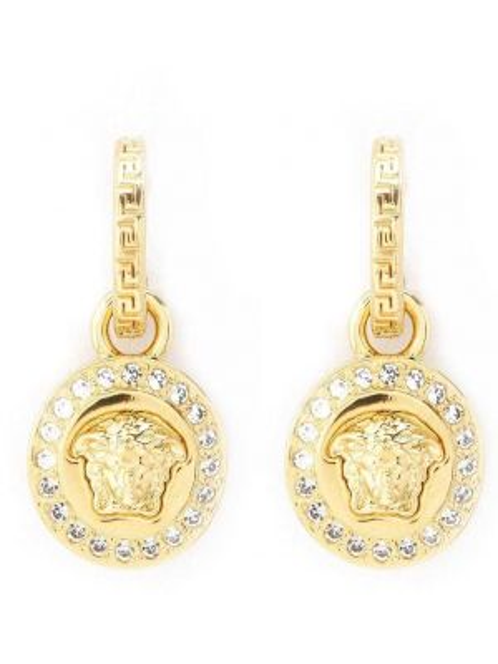 Białe złote kolczyki sztyfty Versace
