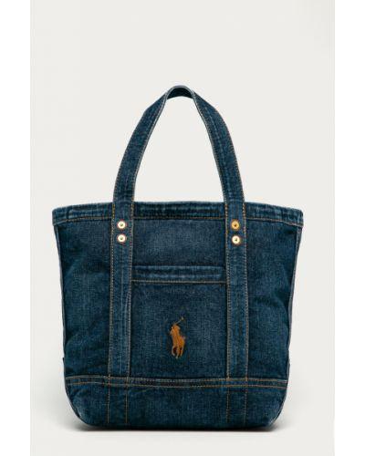 Niebieska torba z krótkimi uchwytami bawełniana Polo Ralph Lauren