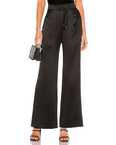 Czarny jedwab klasyczne spodnie z zamkiem błyskawicznym w połowie kolana Amanda Uprichard