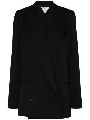 Шерстяной черный удлиненный пиджак двубортный Bottega Veneta