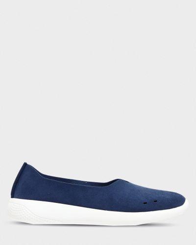 Кожаные слипоны - синие Grunberg