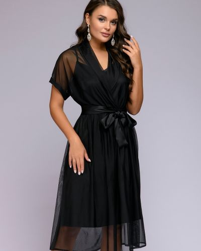 С рукавами коктейльное платье с поясом из фатина 1001 Dress