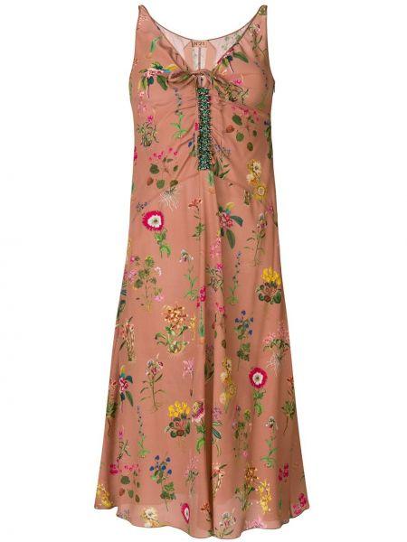 Приталенное расклешенное платье миди с вышивкой без рукавов N°21