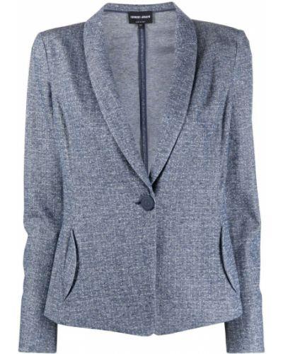 Приталенная ватная синяя длинная куртка Giorgio Armani