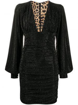 Приталенное черное платье макси с длинными рукавами Philipp Plein