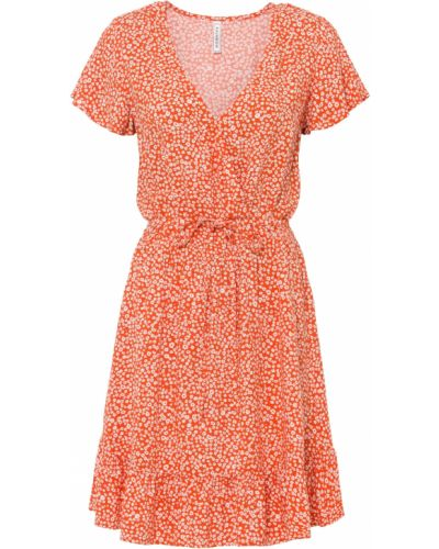 Коричневое платье с оборками с V-образным вырезом Bonprix