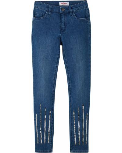 Синие зауженные джинсы-скинни с пайетками Bonprix