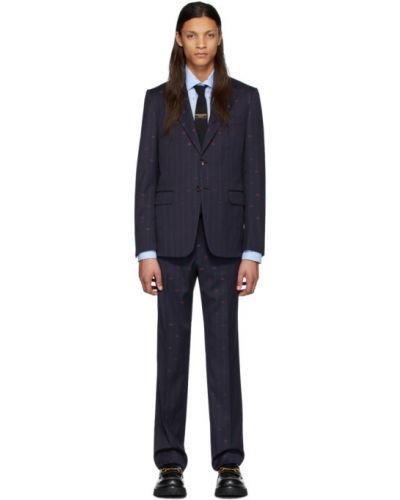 Czarny garnitur wełniany z paskiem Gucci