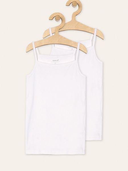 Прямая белая футболка с вырезом Name It