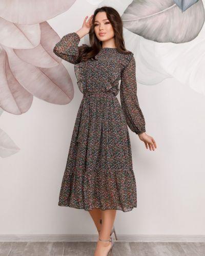 Шифоновое платье миди - черное Issa Plus