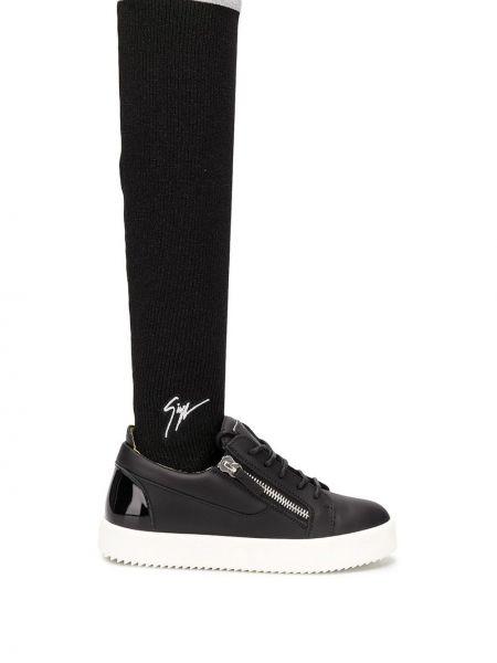 Кожаные черные носки на каблуке Giuseppe Zanotti