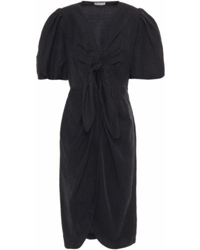 Плиссированное льняное черное платье миди Sandro