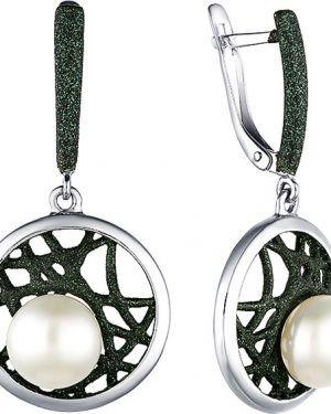 Серебряные серьги с жемчугом серебряный De Fleur