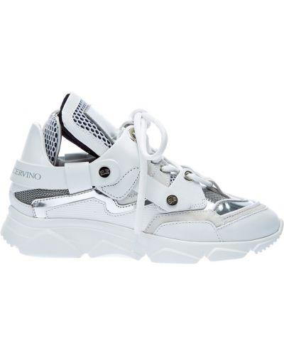 Белые кроссовки со вставками оверсайз из натуральной кожи Ermanno Scervino