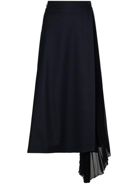 Синяя с завышенной талией плиссированная юбка с запахом на пуговицах Chloé