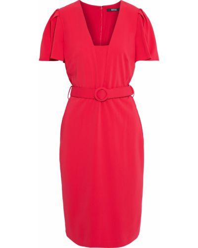 Красное платье с поясом на крючках Badgley Mischka