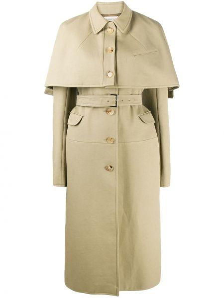 Klasyczny światło peleryna khaki z długimi rękawami Nina Ricci