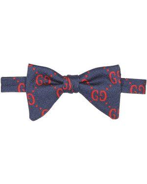 Niebieski krawat wełniany szkolny Gucci Kids