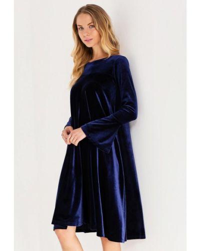 Коктейльное платье осеннее синее Kira Mesyats