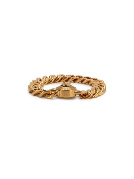 Массивный браслет металлический золотой Versace