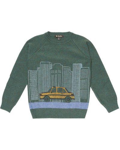 Zielony z kaszmiru sweter Loro Piana Kids