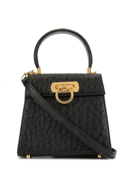 Черная сумка-тоут круглая на молнии с карманами Salvatore Ferragamo Pre-owned