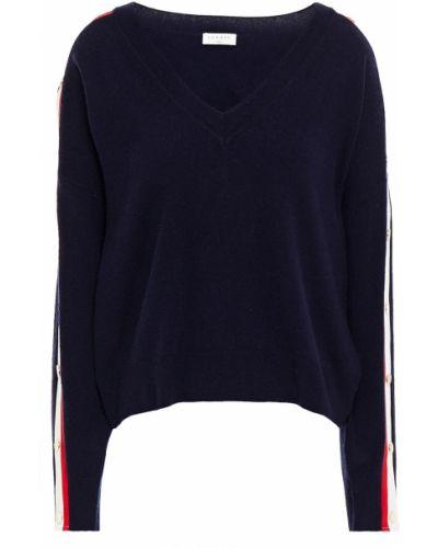 Шерстяной свитер в полоску с нашивками Sandro