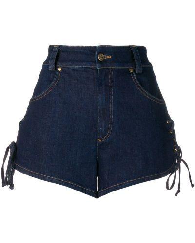 Синие джинсовые шорты со стразами Roberto Cavalli