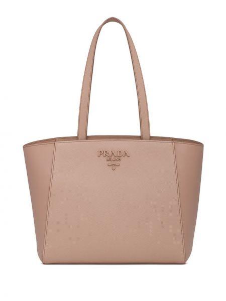 Skórzana torebka na ramię z łatami Prada
